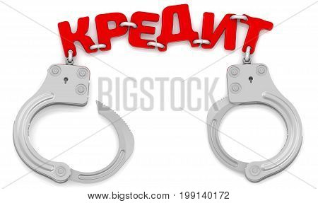 Credit as a restrictor of financial freedom. Steel handcuffs with red word