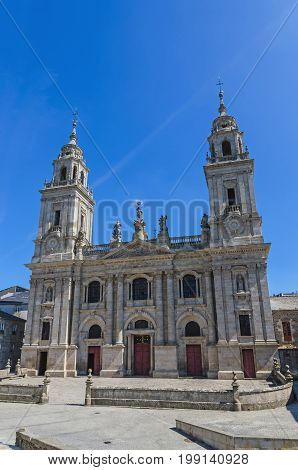 Front view of the facade of Saint Mary's Cathedral. Lugo Galicia Spain