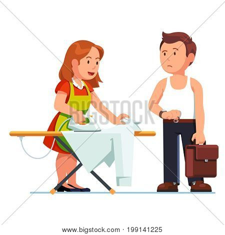 Wife ironing shirt for husband using iron and board. Housewife woman doing housework, business man speeding her waiting and watching time. Flat style vector illustration isolated on white background.