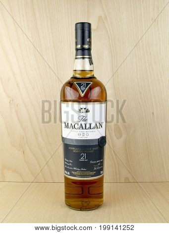 Spencer Wisconsin August 10 2016 Bottle of Macallan 21 year old Scotch Whisky Macallan is produced in Craigellachie Moray