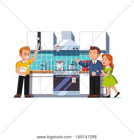 Shop assistant salesman showing home kitchen furniture, appliances set to customers man and woman. Family couple buyers in domestic equipment store. Retail business. Flat vector isolated illustration.