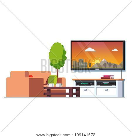 Home living room interior with coffee table, couch, tv screen and stand with blue ray player and receiver. Office waiting hall furniture. Flat style vector illustration isolated on white background.