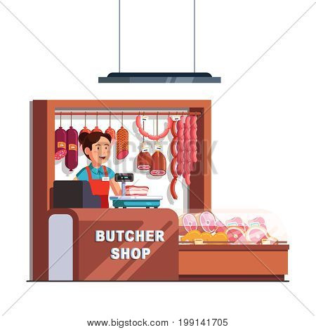 Butcher shop owner woman working as cashier at checkout counter and scales. Showcase full of meat products. Small retail business concept. Flat style vector illustration isolated on white background.