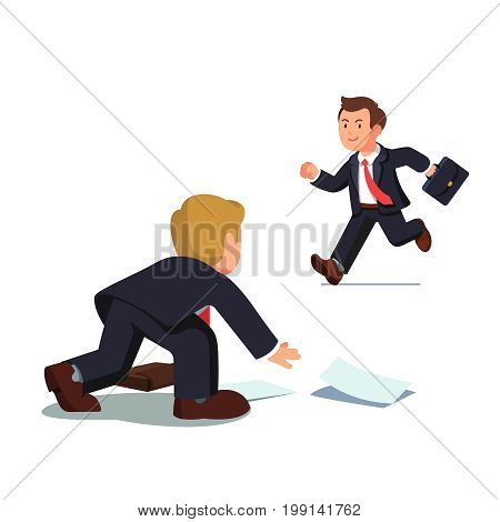 Business man with suitcase being late and running fast while his colleague helping him picking up paper documents from the floor. Flat style vector illustration isolated on white background.