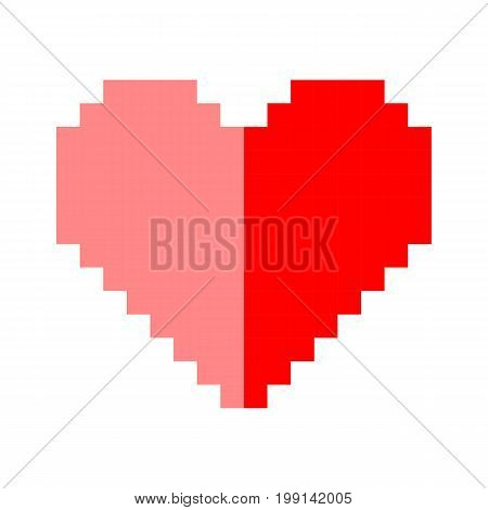 Pixel art heart love color icon valentine set