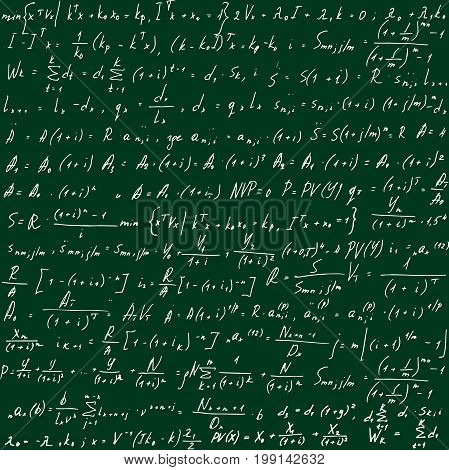 Green school board with formulas drawn by hand. Scientific equations as a pattern. Vector illustration.