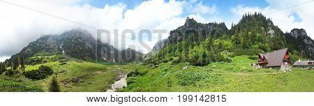 Panoramic view of Mount Bucegi on summer part of the Carpathian Range from Romania