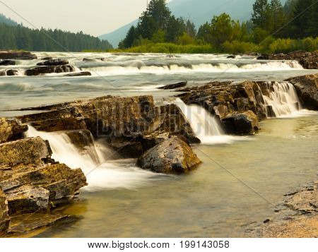 Some mini falls in the rapids of the Kootenai River Falls