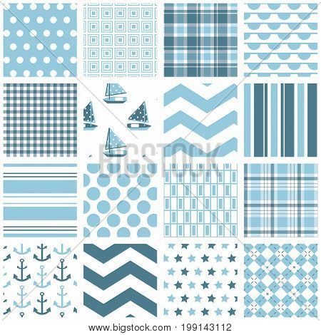 16 seamless background patterns in pale blue
