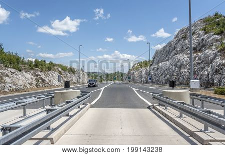 SEOCA, CROATIA - JULY 16, 2017: Terminal payment for driving on the highway, autobahn in Croatia.