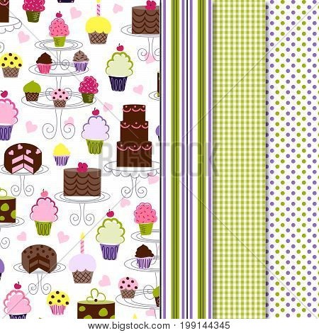 Cupcake pattern with coordinating stripe, gingham and polka dot print.