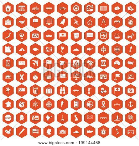 100 cartography icons set in orange hexagon isolated vector illustration