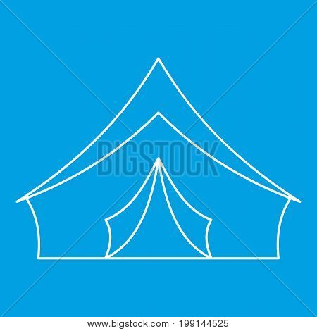 Tourist camping tent icon blue outline style isolated vector illustration. Thin line sign