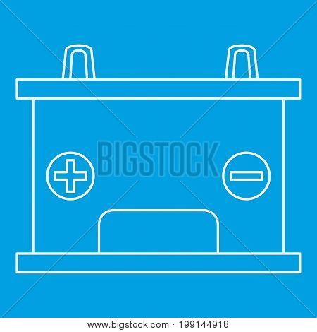 Car battery icon blue outline style isolated vector illustration. Thin line sign