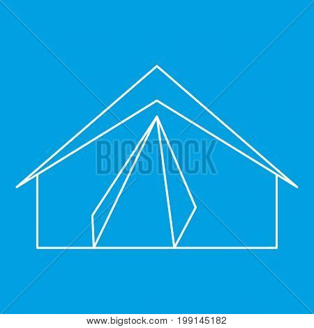 Tourist tent icon blue outline style isolated vector illustration. Thin line sign