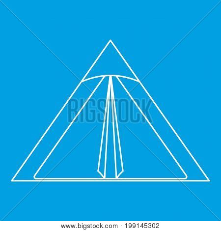Triangle tent icon blue outline style isolated vector illustration. Thin line sign