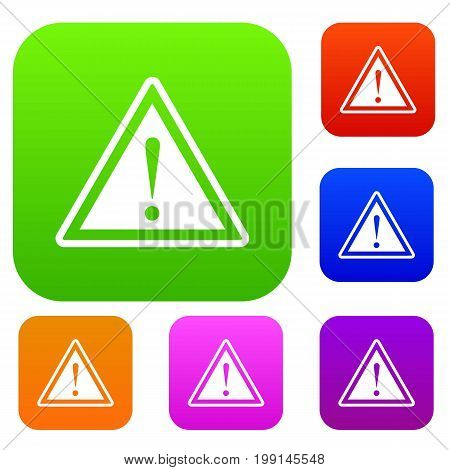 Hazard warning attention sign with exclamation mark set icon in different colors isolated vector illustration. Premium collection