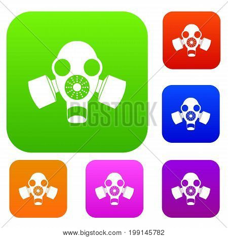 Black gas mask set icon in different colors isolated vector illustration. Premium collection