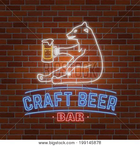 Neon signboard Craft Beer with bear on brick wall background. Vector illustration. Vintage design for bar, pub and restaurant business. Craft beer.