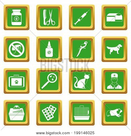 Veterinary icons set in green color isolated vector illustration for web and any design