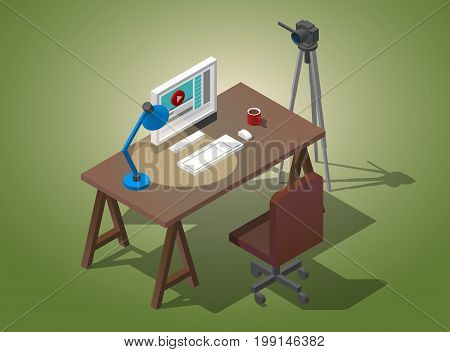 Workplace video blogger. A table with a chair, a camera on a tripod, a cup of coffee. table lamp. Vector isometric Illustration