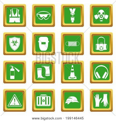 Safety icons set in green color isolated vector illustration for web and any design