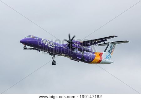 London UK - August 8 2017:Bombardier Dash 8 Q400 Flyby airlines landing at London Heathrow airport