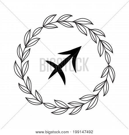 Hand drawing flat sagittarius symbol in rustic floral wreath