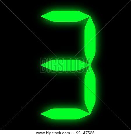 green squared led digit 3 on black background