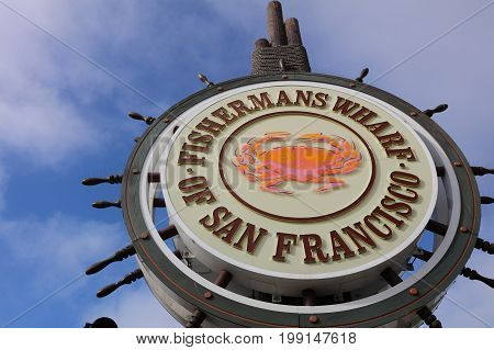 San Francisco, USA - June 24, 2017: Sign of the famous Fishermans Wharf in San Francisco. California. USA