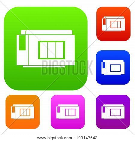 Inkjet printer cartridge set icon in different colors isolated vector illustration. Premium collection