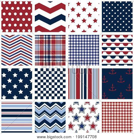 16 seamless red, white & blue background patterns. File includes polka dots, stars, stripes, chevrons, gingham, plaid, checkerboard and anchor print.