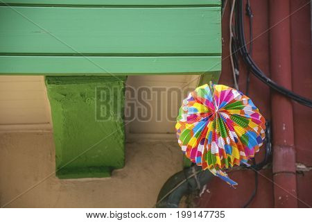 Photo of a decoration with several colours and sunlight