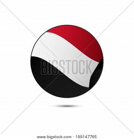 Yemen flag button with shadow on a white background. Vector illustration.