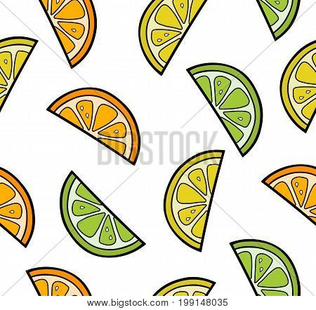 Citrus fruit slices, summer seamless citrus pattern