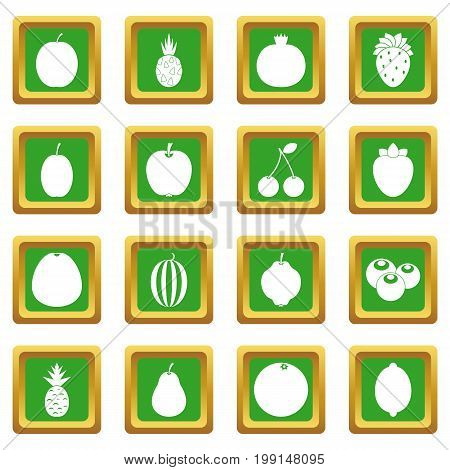 Fruit icons set in green color isolated vector illustration for web and any design