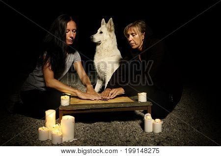 Woman spiritualists communicating with ghosts through spiritual board. Dog watching