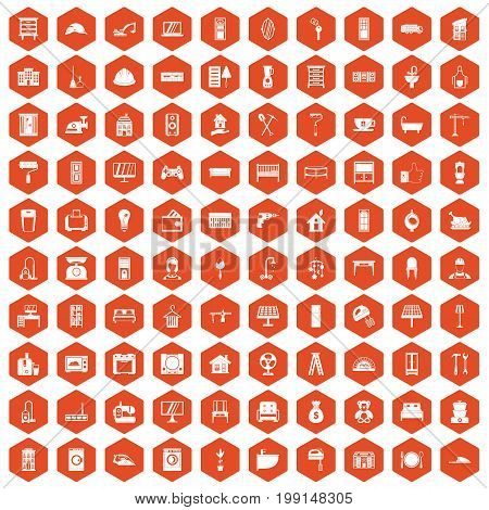 100 comfortable house icons set in orange hexagon isolated vector illustration