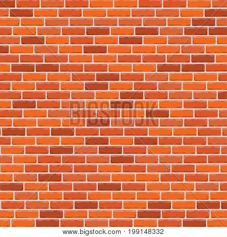 Red brick wall background. Vector illustration. Brick wall background