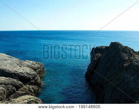View of the Cretan wild sea coastline