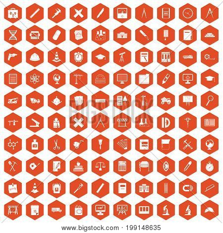100 compass icons set in orange hexagon isolated vector illustration