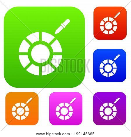 Color picker set icon in different colors isolated vector illustration. Premium collection