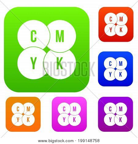 CMYK circles set icon in different colors isolated vector illustration. Premium collection