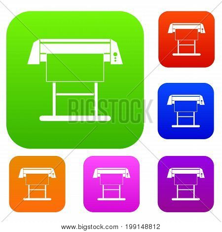 Large format inkjet printer set icon in different colors isolated vector illustration. Premium collection