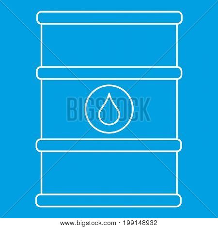 Oil barrel with label icon blue outline style isolated vector illustration. Thin line sign