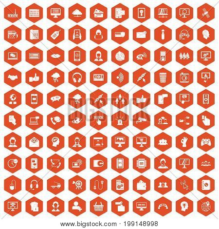 100 contact us icons set in orange hexagon isolated vector illustration