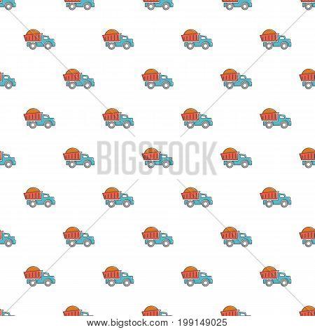 Heavy construction tipper pattern in cartoon style. Seamless pattern vector illustration