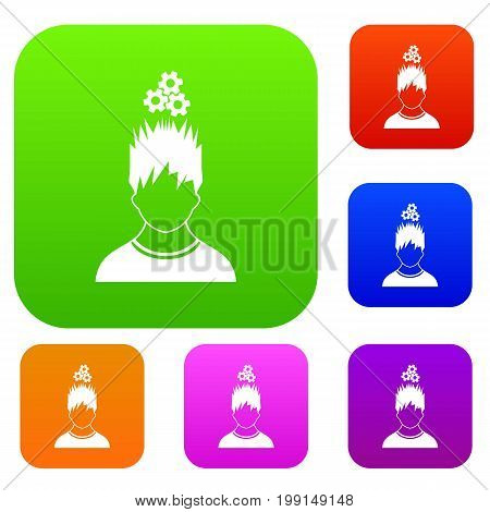 Man with metal gears over head set icon in different colors isolated vector illustration. Premium collection