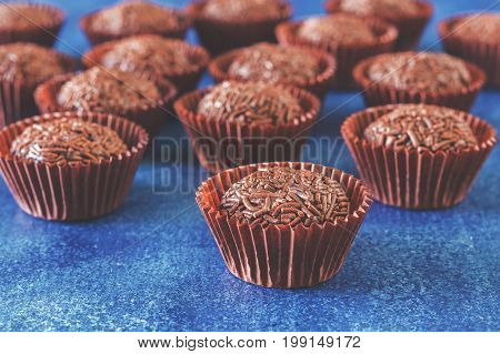 Brigadeiros. Brazilian chocolate truffles. Made of condensed milk cocoa powder butter and chocolate sprinkles