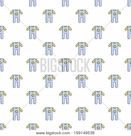 Baby boy clothes pattern in cartoon style. Seamless pattern vector illustration